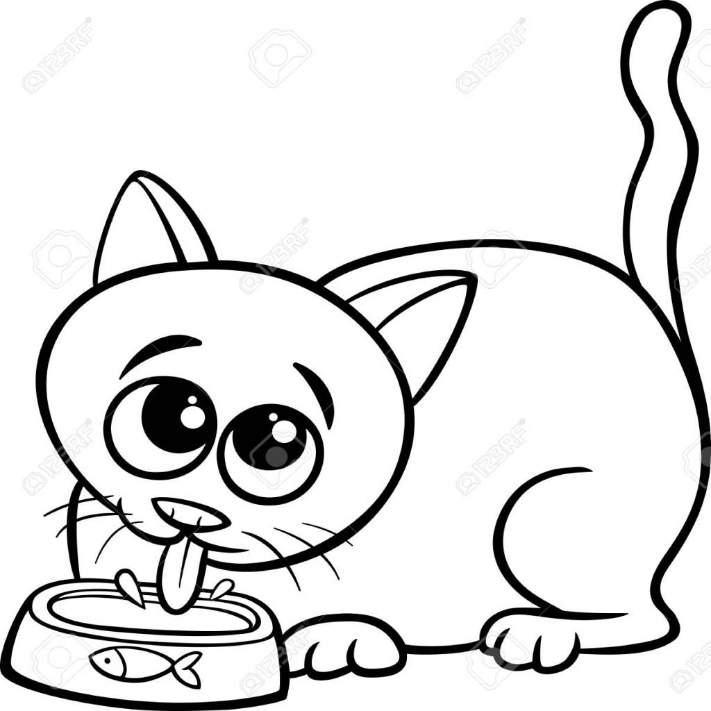 1024x1024 Black And White Cartoon Illustration Of Cute Cat Drinking Milk