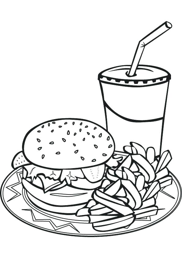 595x826 French Coloring French Fries Coloring Page Hamburger French Fry