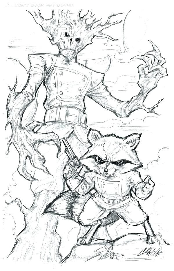 600x935 Drawing Rocket Raccoon Guardians Of The Galaxy Coloring Page