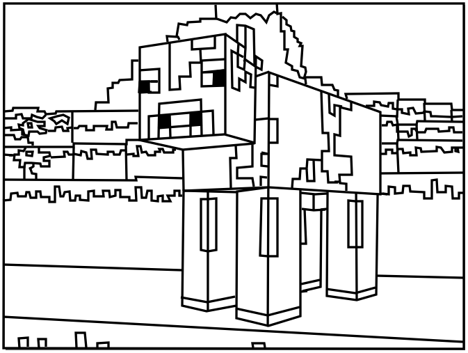 673x507 Enjoyable Design Printable Minecraft Coloring Pages Cow Craft