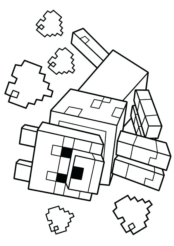 595x842 Minecraft Color Pages Coloring Pages Printable Wolf Coloring Page