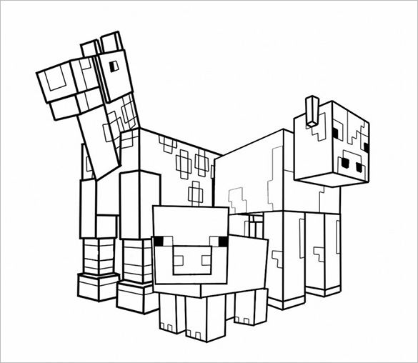 585x508 Coloring Pages Of Minecraft Animals
