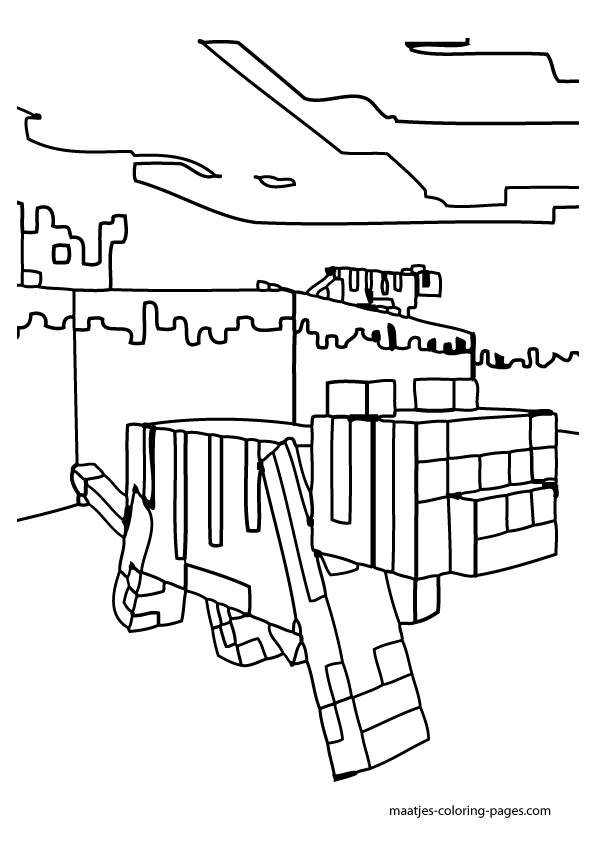 595x842 Minecraft Cat Coloring Pages