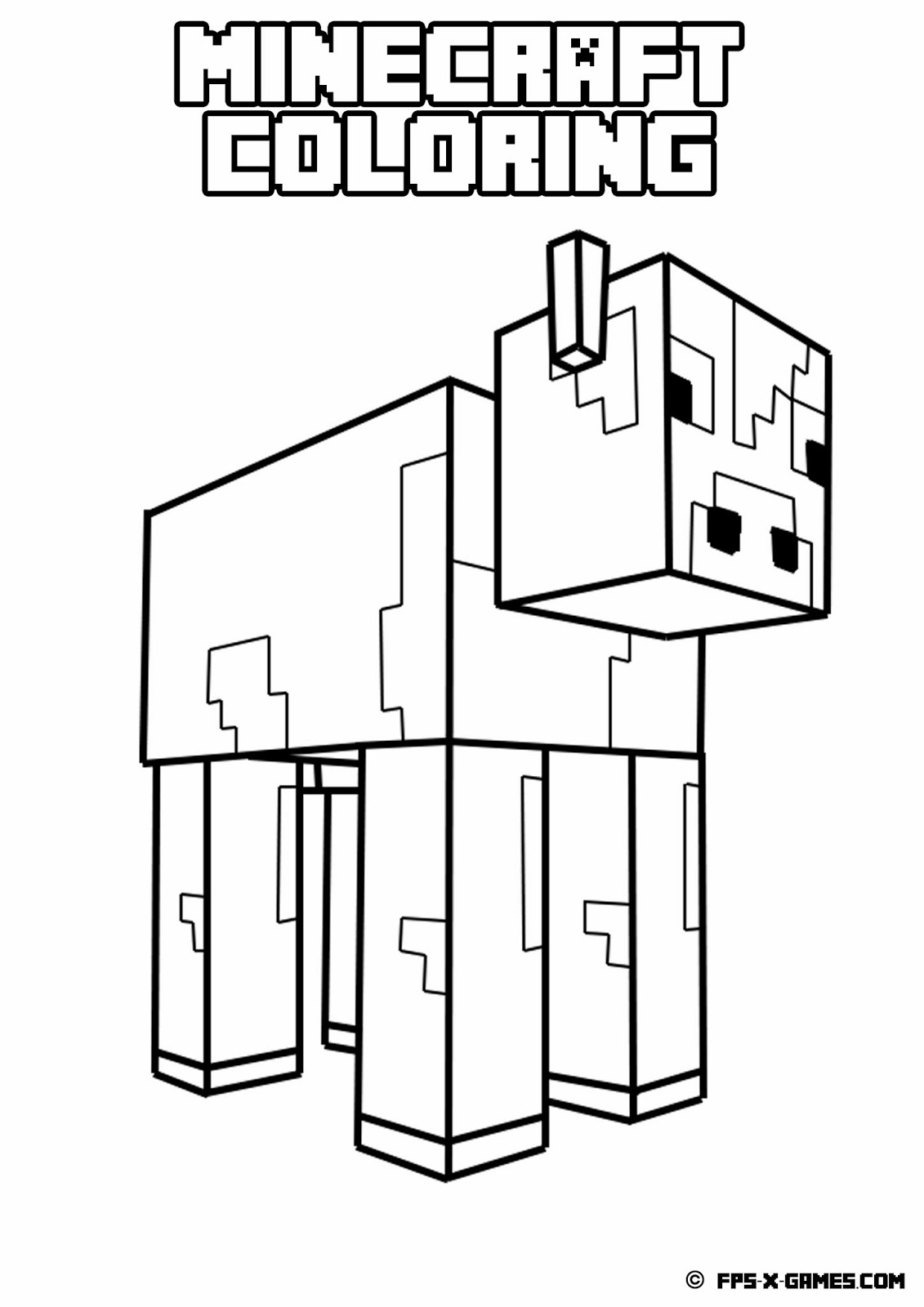 1131x1600 Minecraft Cow Coloring Pages