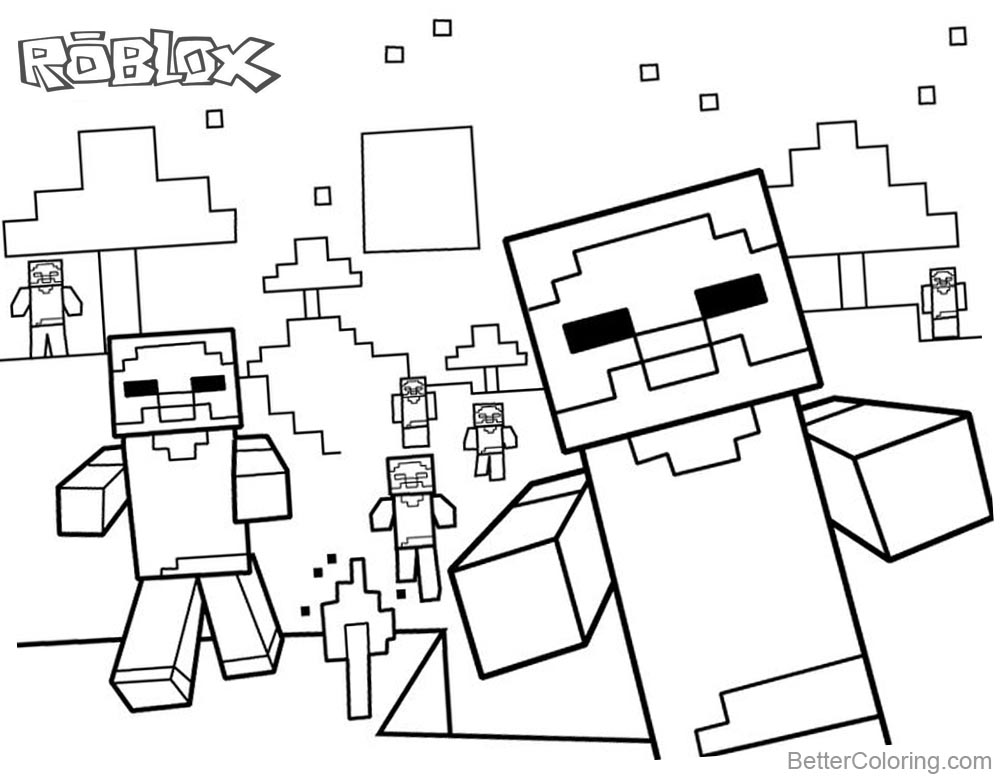 1000x780 Cute Minecraft Characters Of Roblox Coloring Pages
