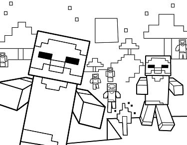 375x292 Minecraft Coloring Pages