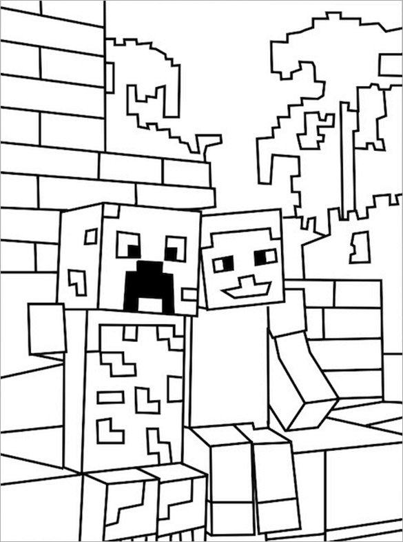 585x786 Minecraft Coloring Pages Free Printable Word, Pdf, Png