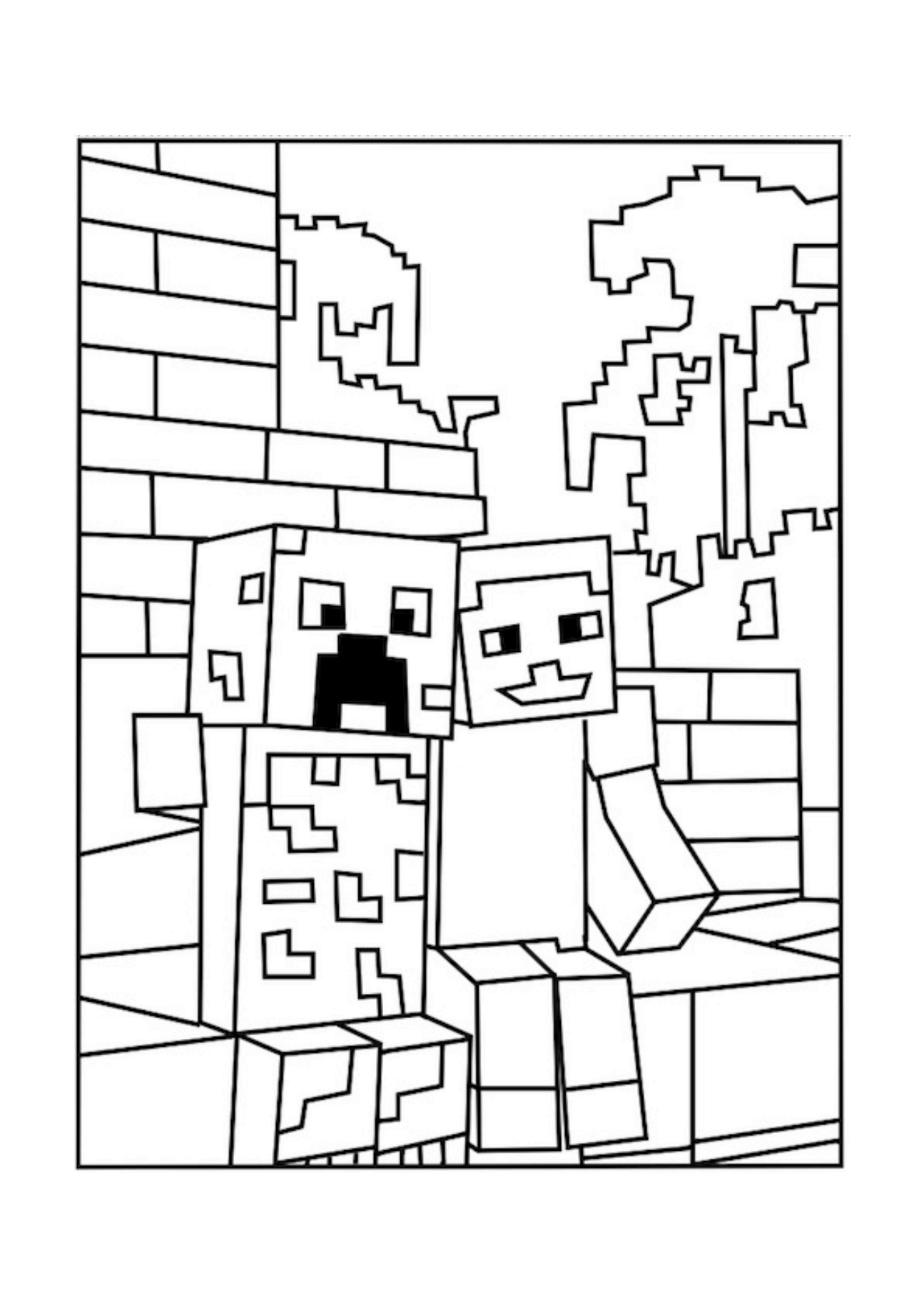 Minecraft Coloring Pages Creeper Face_