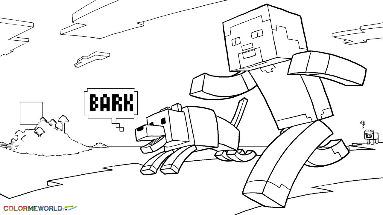 1280x720 Minecraft Coloring Pages Kids And Ender Dragon