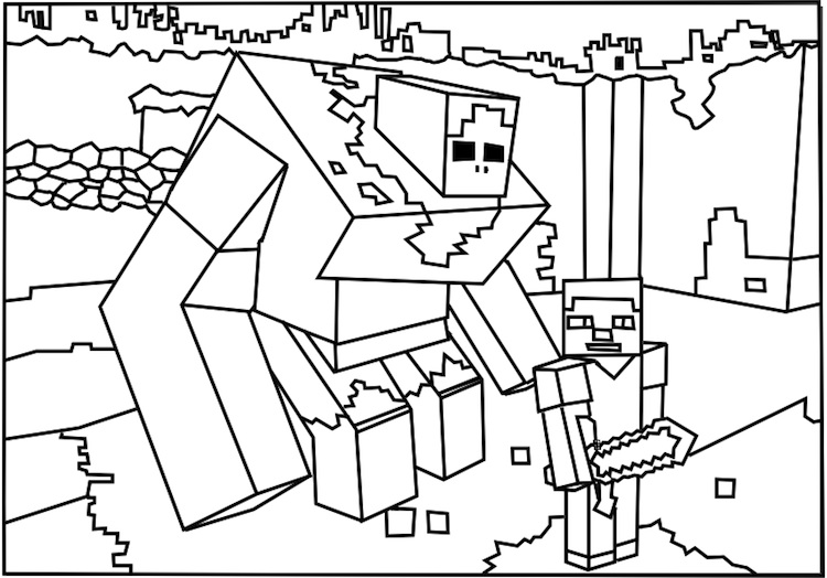 750x524 Minecraft Mutant Zombie Coloring Pages