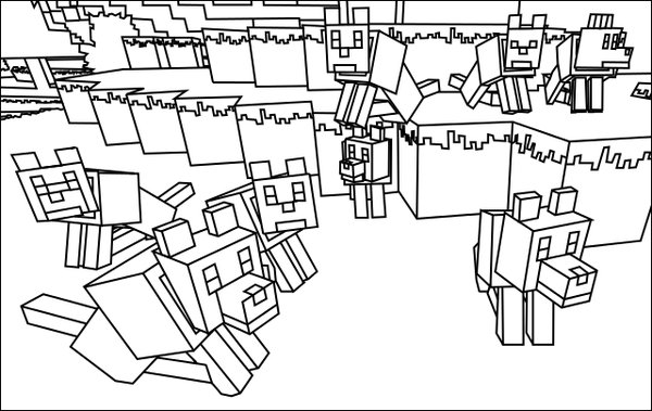 600x379 With Minecraft Wolf Coloring Pages