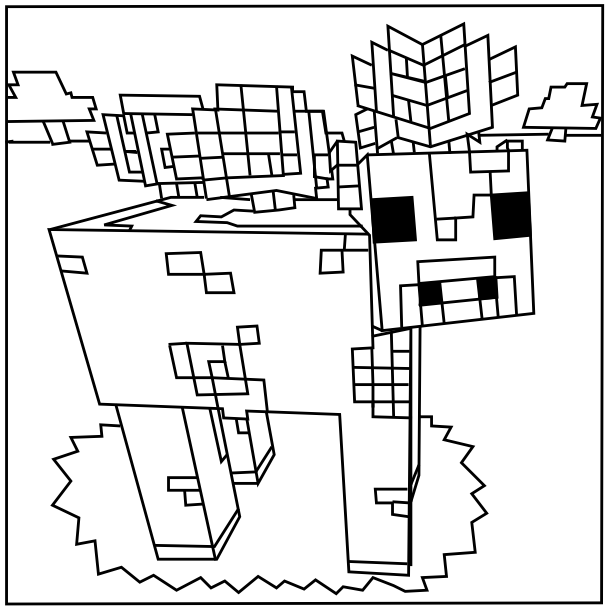609x610 Minecraft Coloring Pages Printable Minecraft Mooshroom Coloring