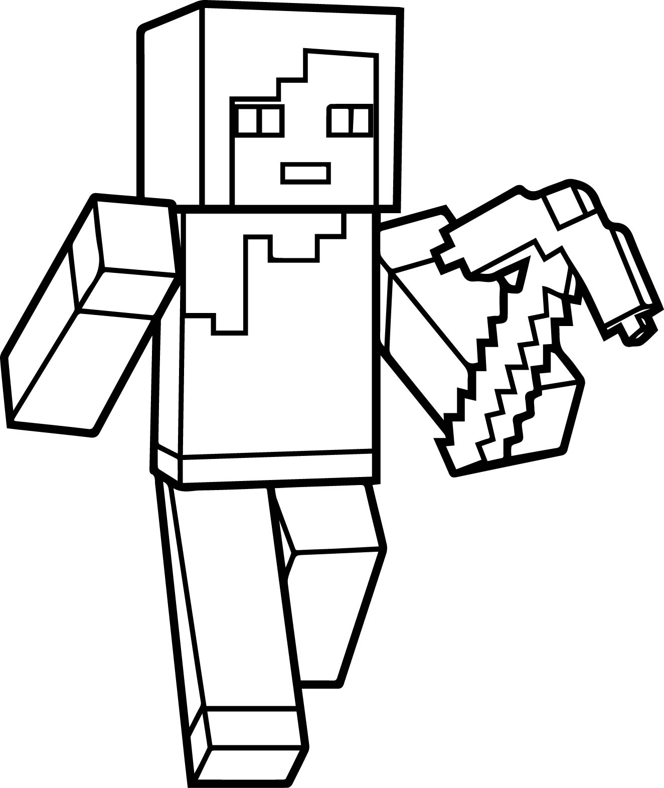 Minecraft Coloring Pages Herobrine At Getdrawingscom Free For