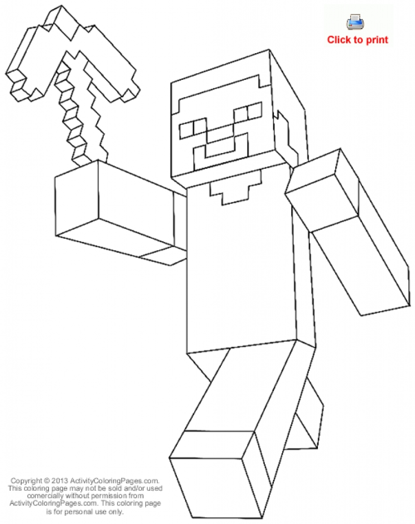 812x1024 Minecraft Steve Diamond Armor Coloring Page Free Ripping