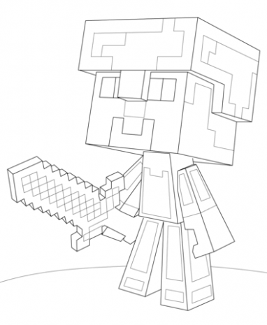 382x465 Minecraft Steve Diamond Armor Coloring Page Free Just Coloring