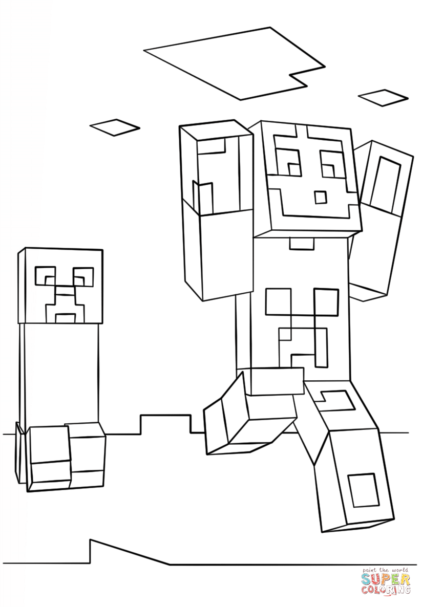 824x1186 Minecraft Steve And Creeper Coloring Page Free Printable Simple