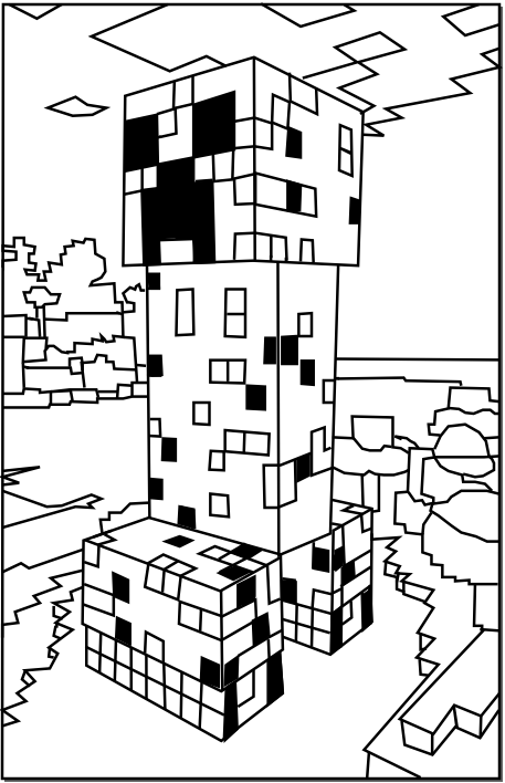 457x708 Printable Minecraft Creeper Coloring Pages Gauge