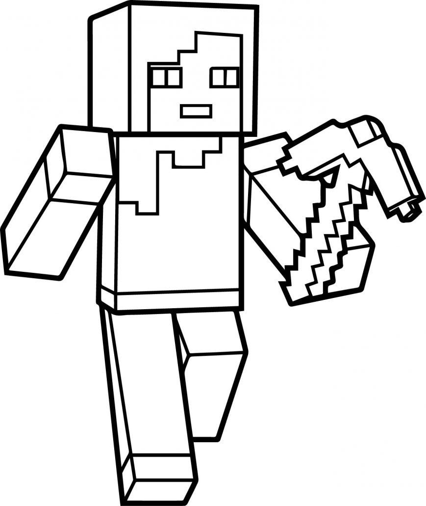 869x1031 Minecraft Coloring Pages Steve Zombie Pigman Diamond Sword Image