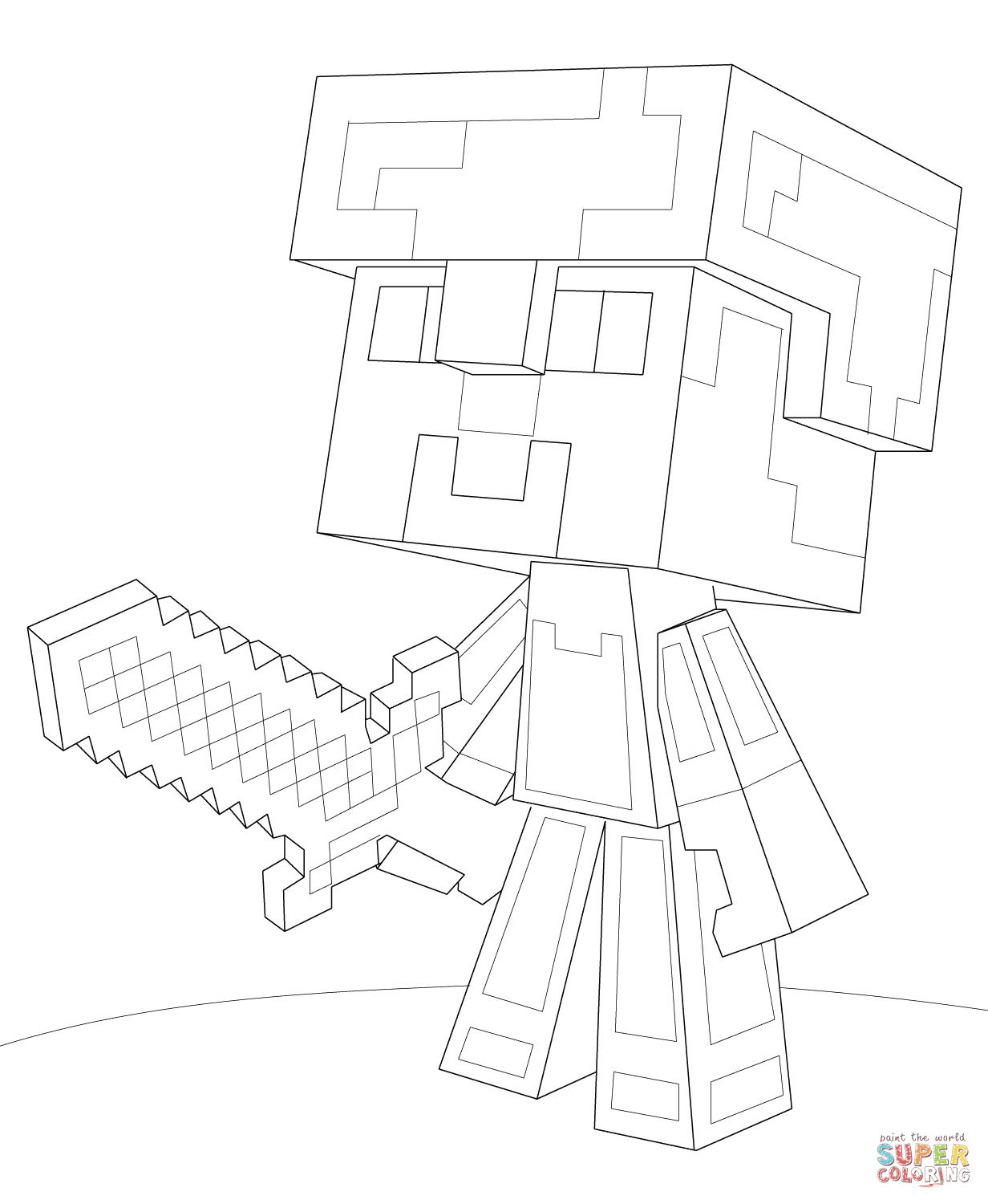 1232x1500 Minecraft Steve Diamond Armor Coloring Page Free Ripping