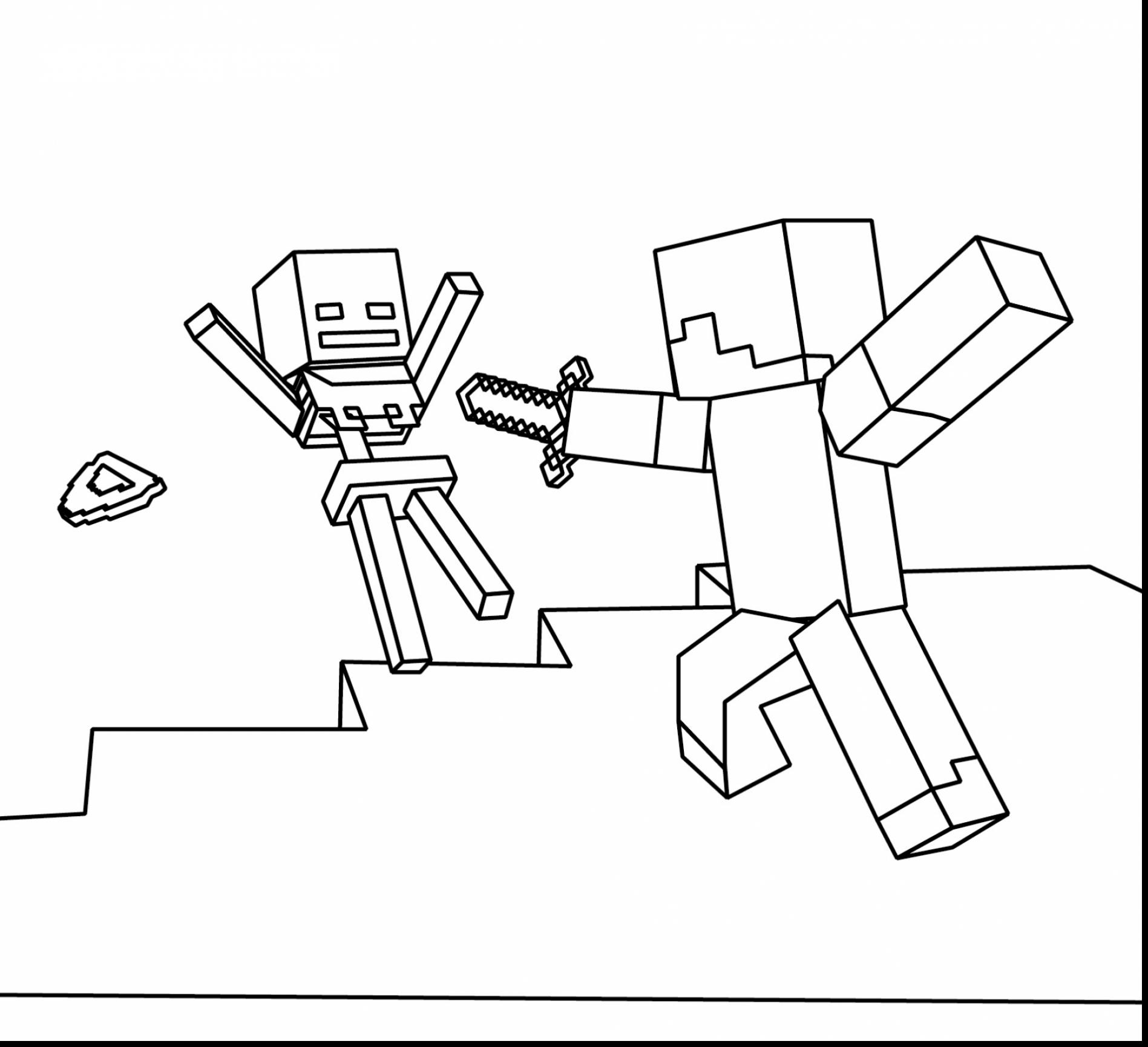 1897x1732 Minecraft Steve With Diamond Sword Coloring Page Free Printable