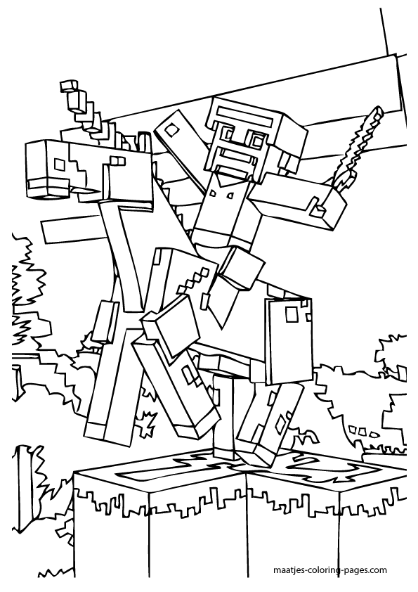 595x842 Minecraft Sword Coloring Pages