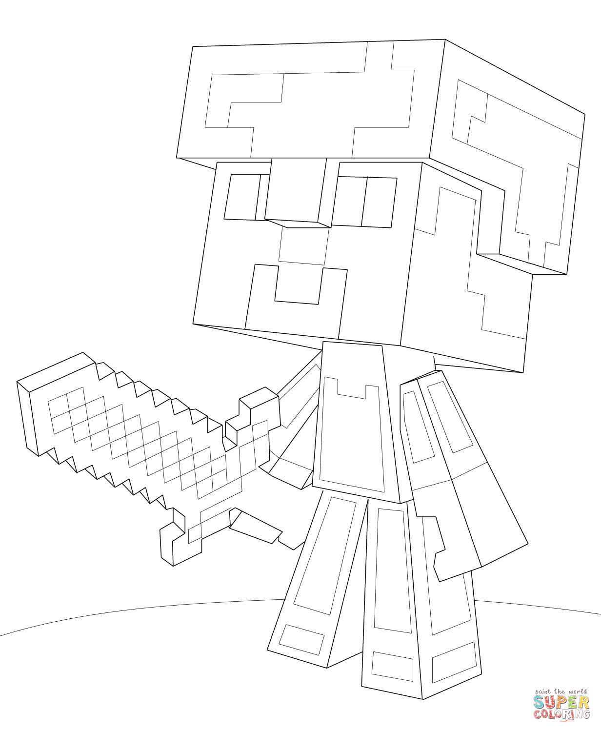 1232x1500 Minecraft Steve Diamond Armor Coloring Page Throughout Pages