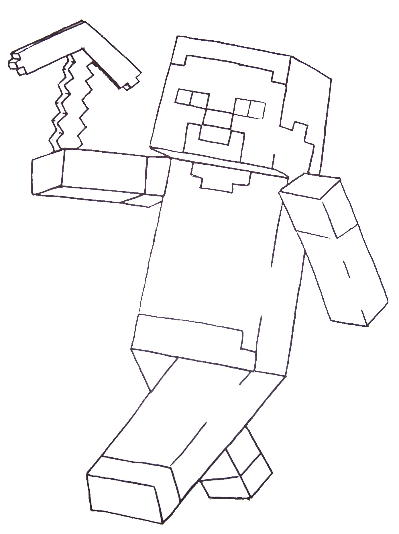1393x1865 New Minecraft Steve Coloring Pages Printable