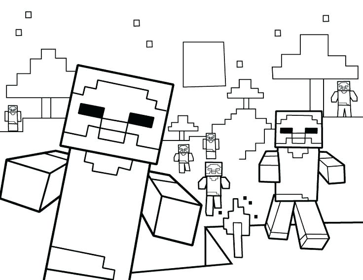 736x568 Free Minecraft Coloring Pages