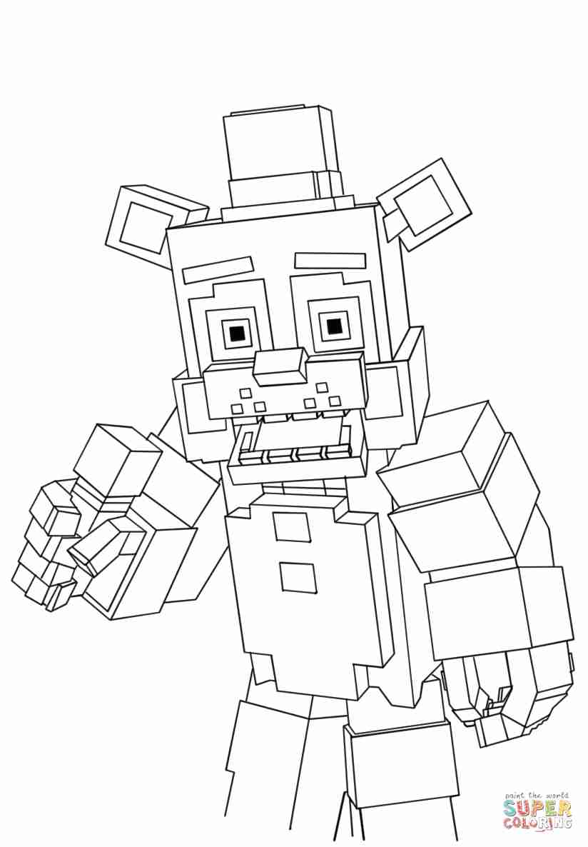 824x1186 Minecraft Freddy Coloring Page Free Printable Pages Beauteous
