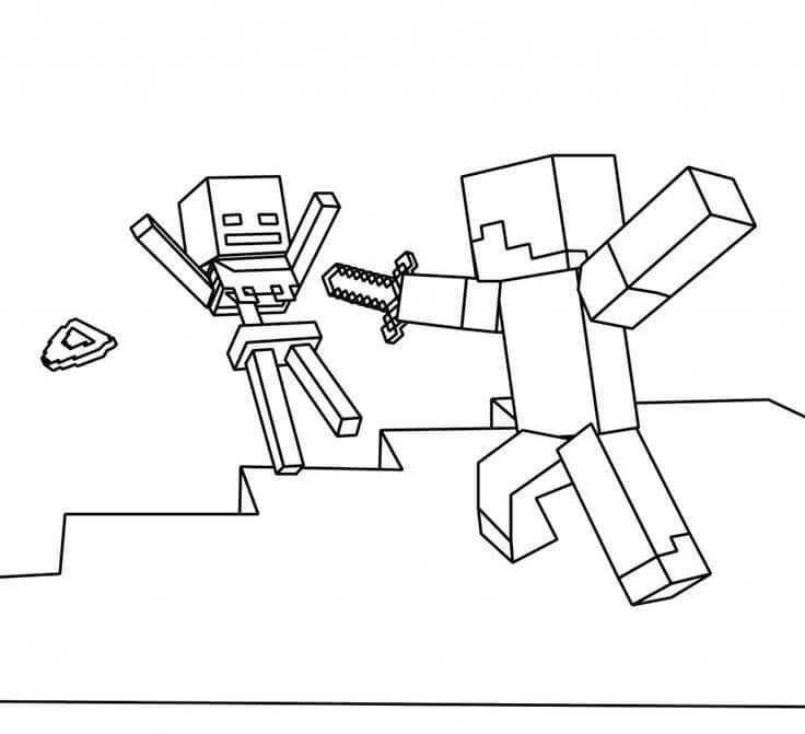 736x671 Minecraft Coloring Pages Skeletons