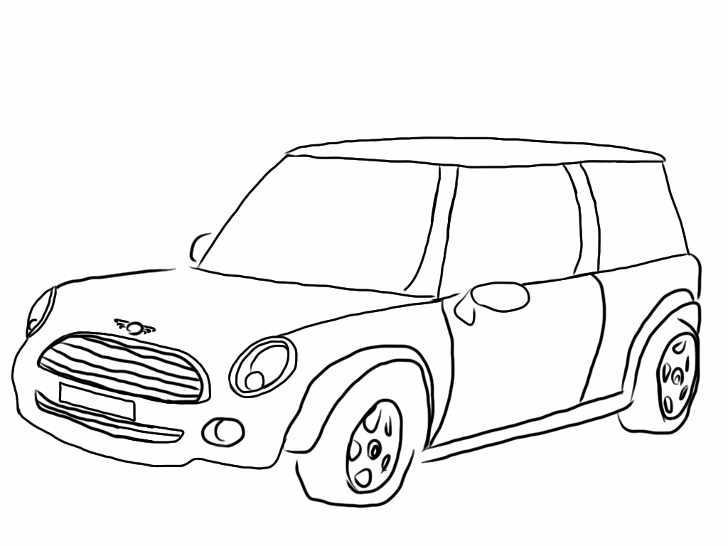 1024x768 Mini Cooper Car Coloring Pages