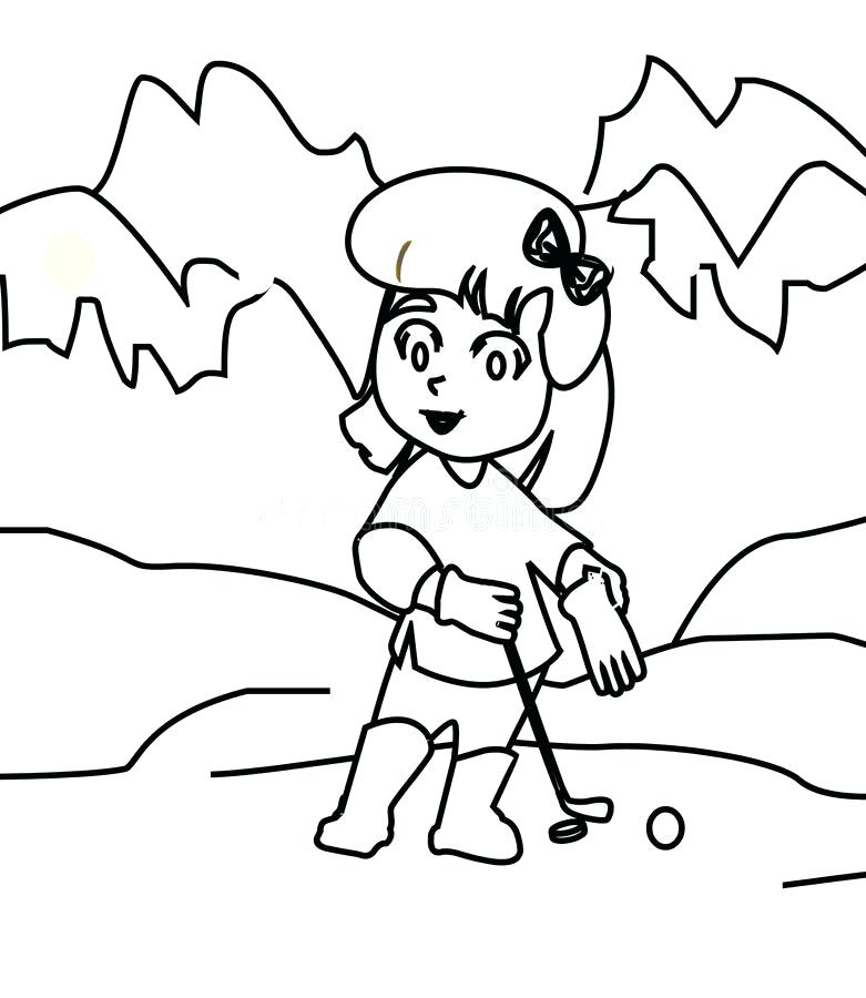 781x900 Golf Coloring Page Download Girl Playing Golf Coloring Page Stock