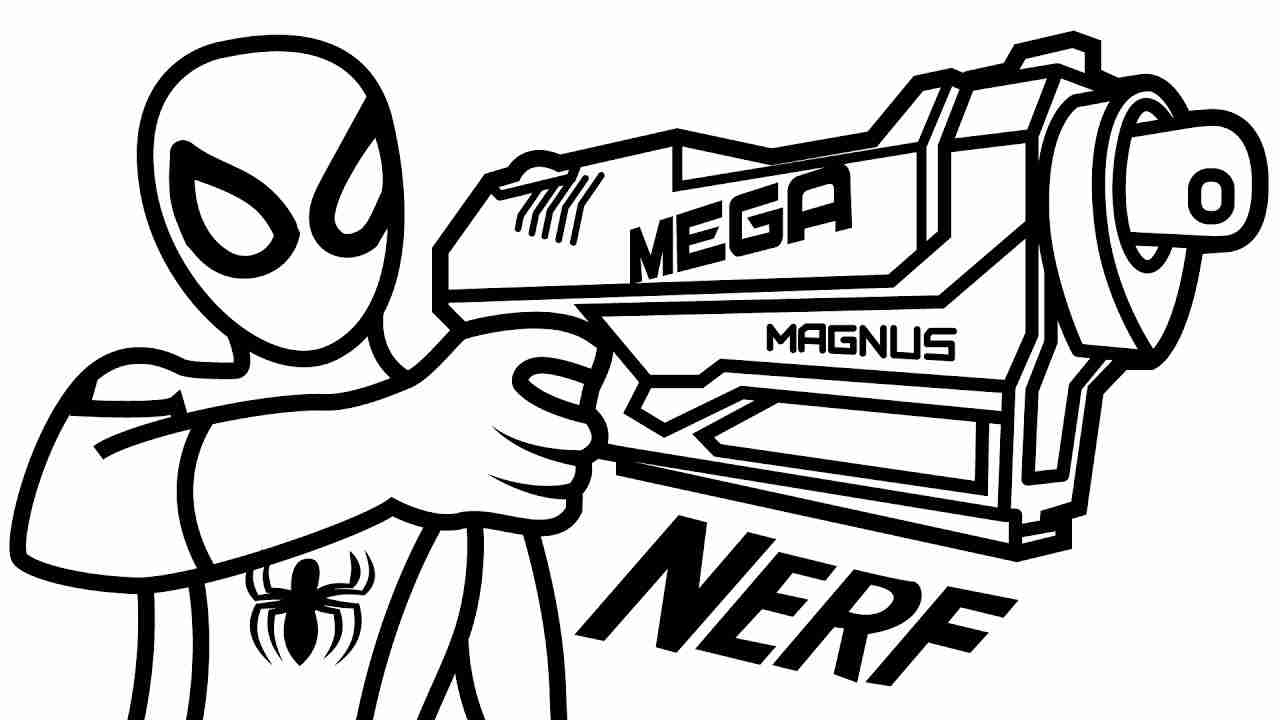 1280x720 Nerf Coloring Pages With Gun Page Free Printable Noticeable