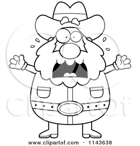 450x470 Cartoon Clipart Of A Black And White Chubby Miner Prospector