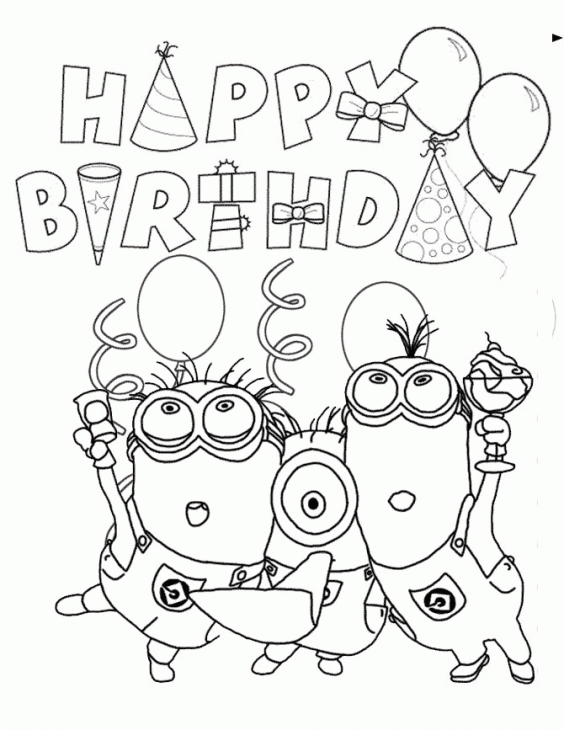 564x730 Happy Birthday From Minions Coloring Page Fun Coloring Pages