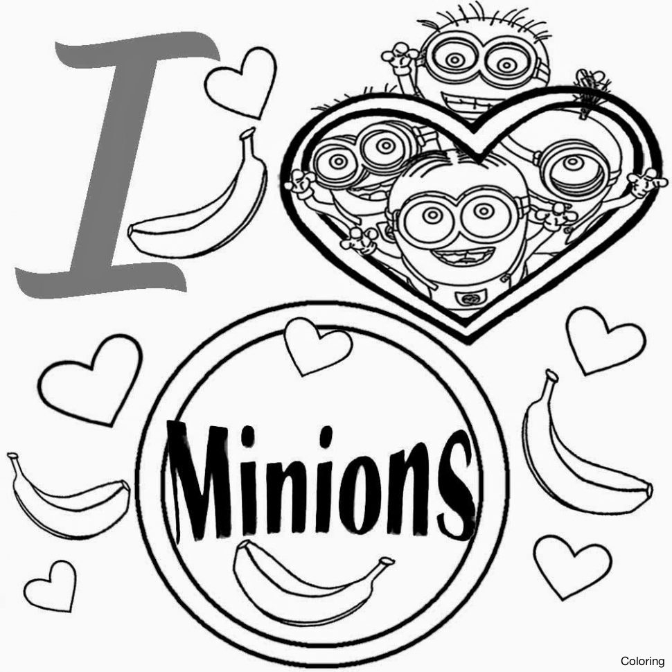 970x970 Minion Christmas Coloring Pages Throughout