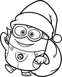 244x302 Minion Coloring Christmas Picture How To Draw A Christmas Minion