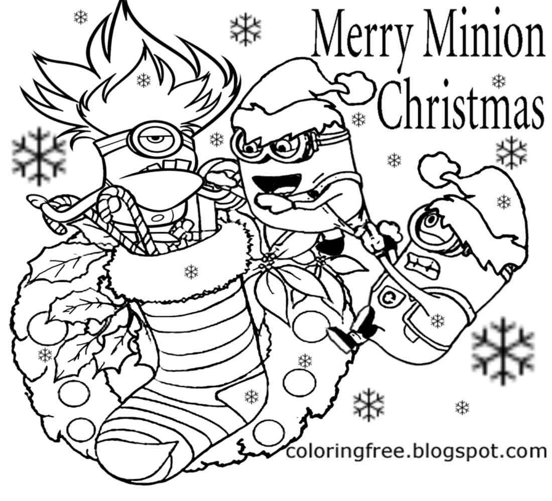 1100x1000 Minion Christmas Coloring Pages