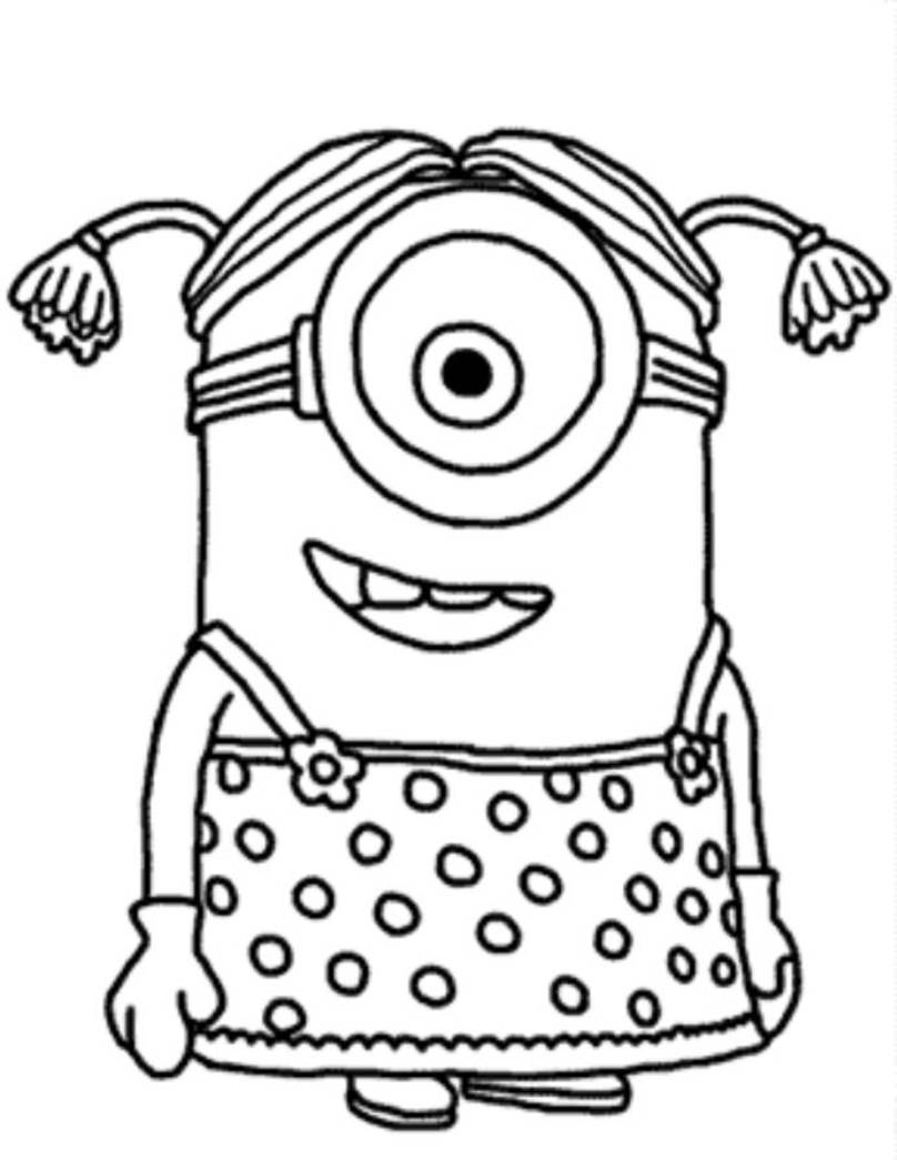808x1045 Download And Print Minion Girl Despicable Me Coloring Pages Pta