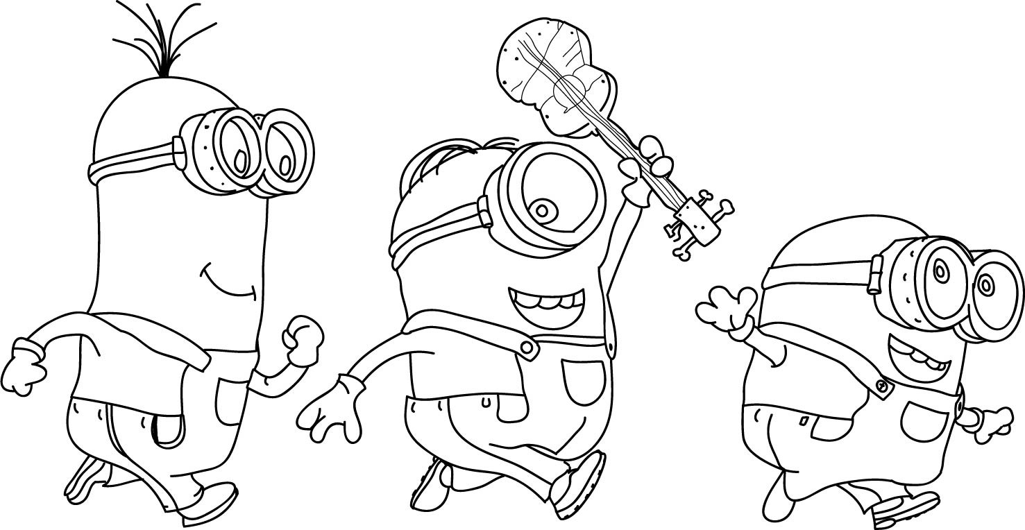 1477x764 Awesome Minions Coloring Pages Playing Together On Minion Color