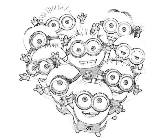 580x483 Kids Minions Despicable Me Coloring Pages Holiday Valentine