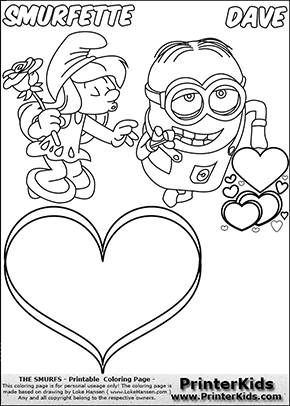 290x406 Coloring Page With Smurfette Trying To Kiss With Her Eyes Closed