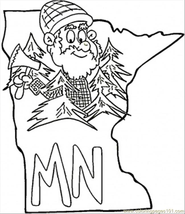 650x750 Minnesota Map Coloring Page