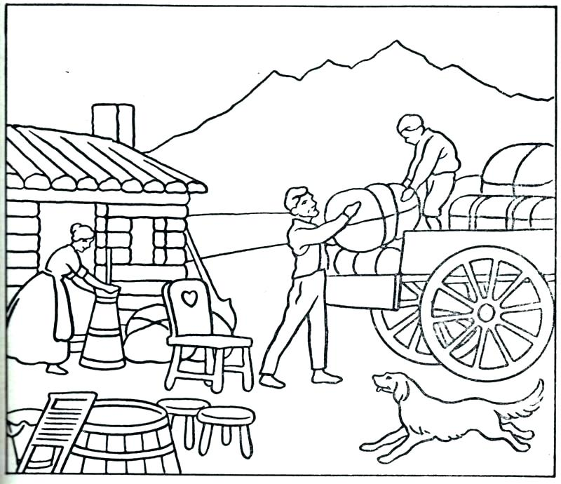 800x690 Fair Coloring Pages Wagon Coloring Page Covered Wagon Coloring