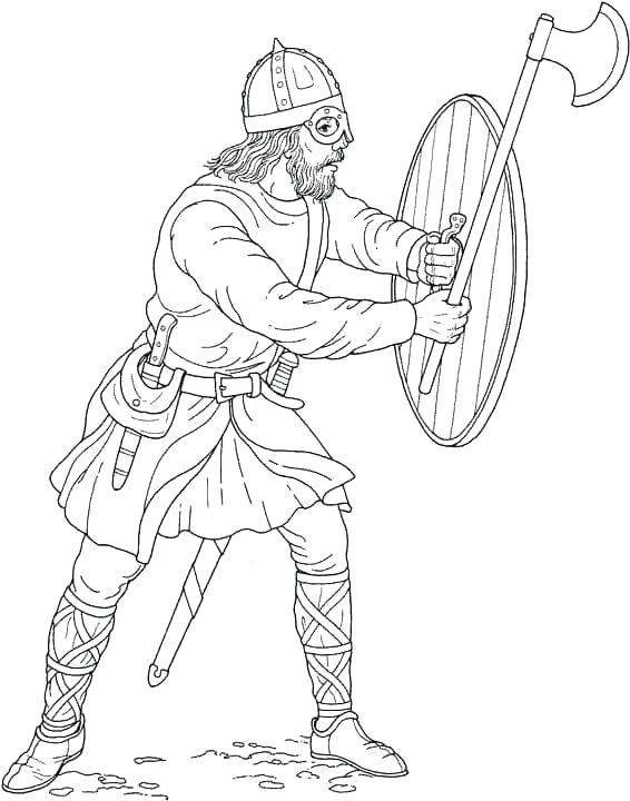566x720 Vikings Coloring Pages Knight Protects The Door Viking Coloring