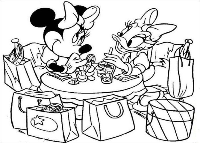 700x500 Minnie And Daisy In A Cafe Coloring Page Cartoon Pages