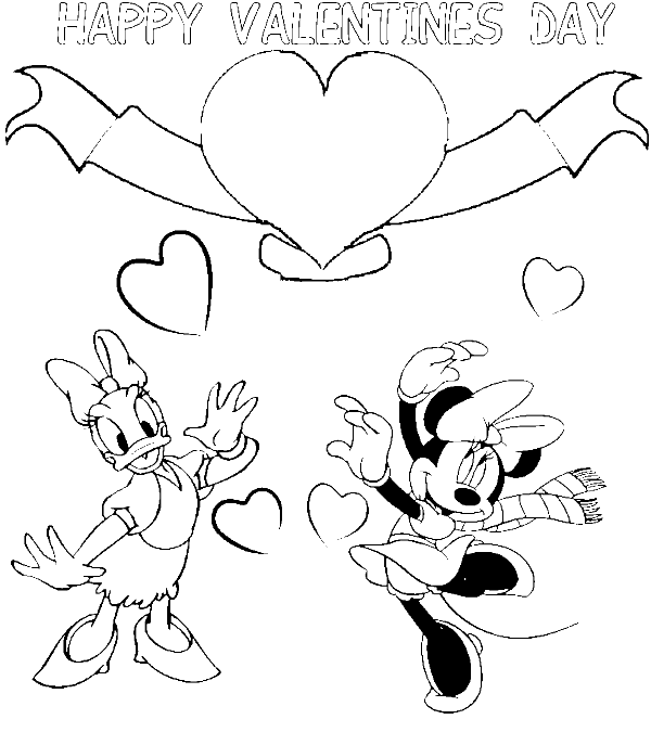 600x675 Daisy Minnie Disney Valentine Coloring Pages
