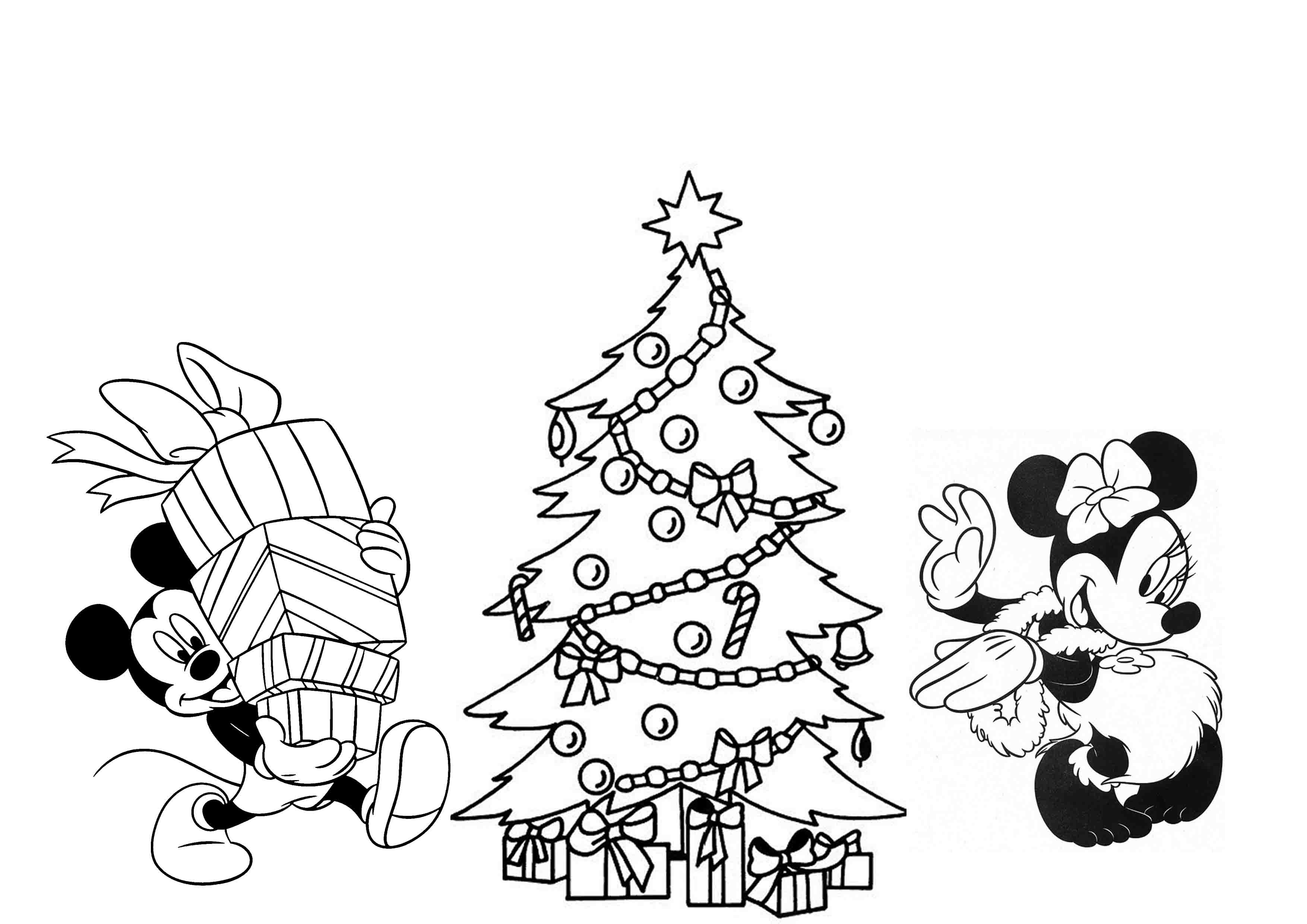 3508x2480 Mickey Mouse Disney Christmas Coloring Pages In Minnie