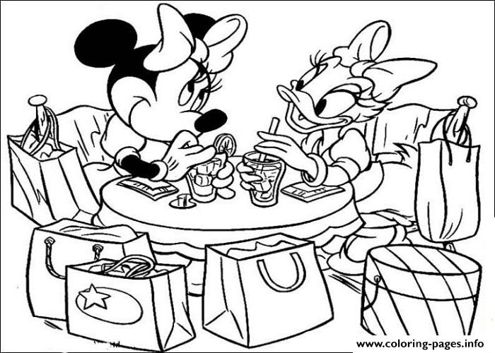 700x500 Minnie And Daisy In A Cafe Disney Coloring Pages Printable