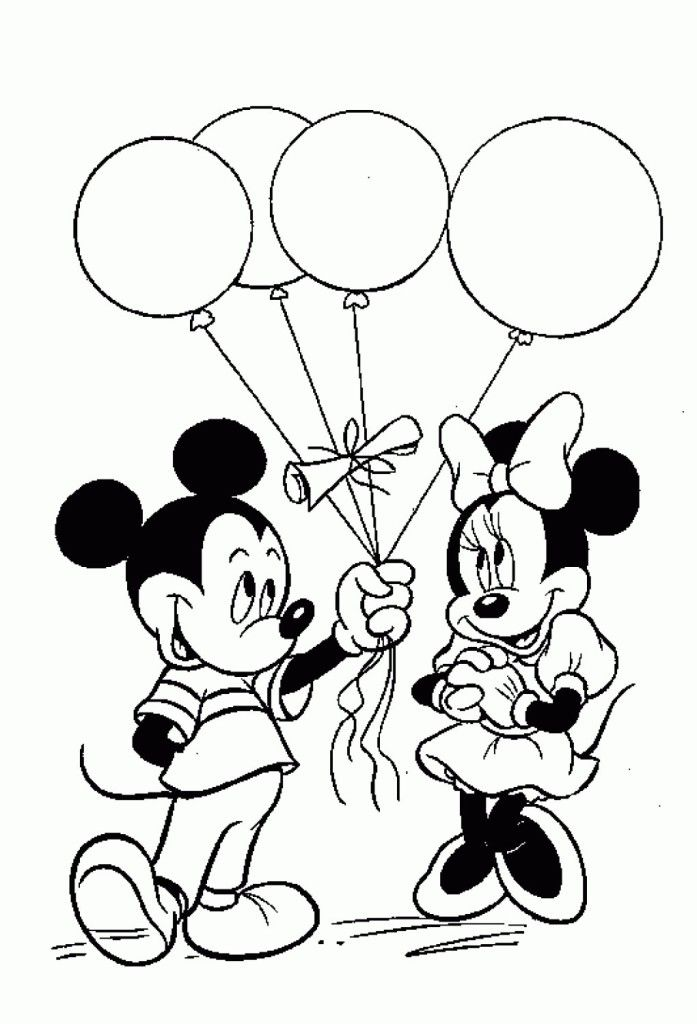 697x1024 Mickey And Minnie Mouse Birthday Coloring Pages Coloring
